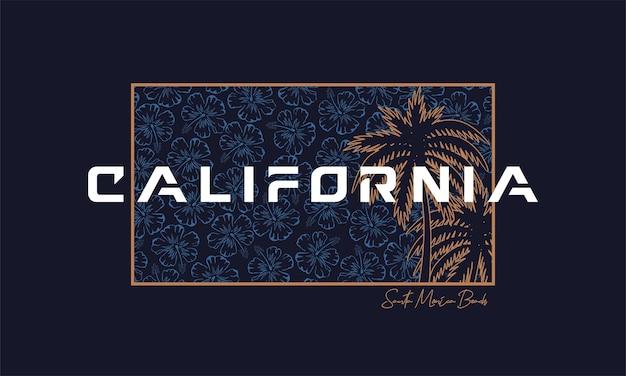 プリントtシャツのカリフォルニアタイポグラフィ