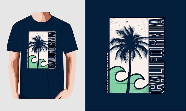 T 셔츠 디자인을 위한 캘리포니아 타이포그래피 premium vector