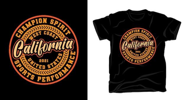 Tシャツデザインのカリフォルニアタイポグラフィ