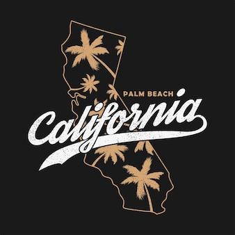 Калифорнийская типографская графика для футболок. гранж-принт для одежды с пальмами и картой.