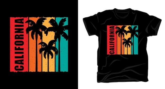 ヤシの木のヴィンテージtシャツのデザインとカリフォルニアのタイポグラフィ