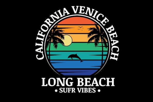 캘리포니아 베니스 비치 롱 비치 서핑 바이브 색상 주황색 녹색 및 파란색