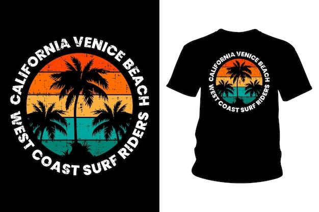 Калифорния венеция пляж текст футболка типографика дизайн