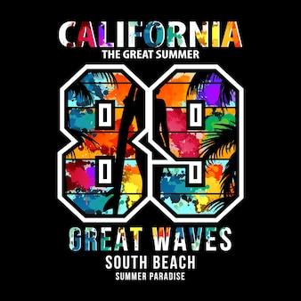 캘리포니아 수채화 컬러 타이포그래피 티셔츠