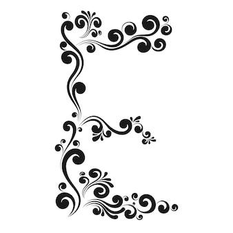 Caligraphic letter e, vintage decorative vector alphabet