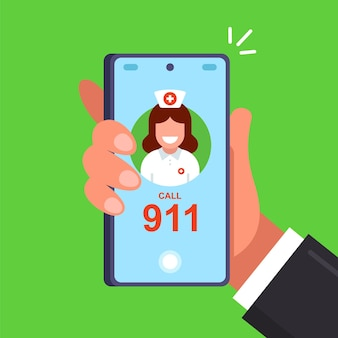 Call 911 to call a doctor. flat vector illustration.