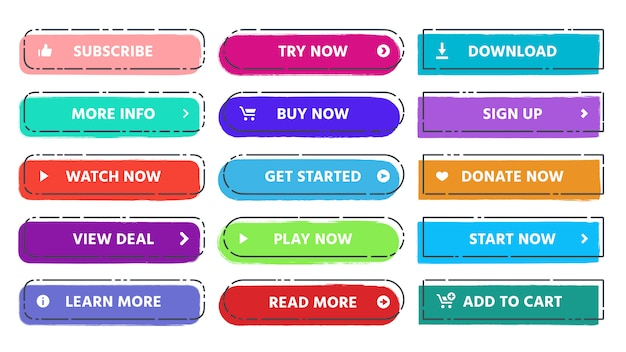 Call to action button. read more, subscribe and buy now web buttons with vivid colors and grunge textures flat isolated  set