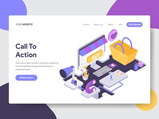 Call to action isometric illustration for web pages