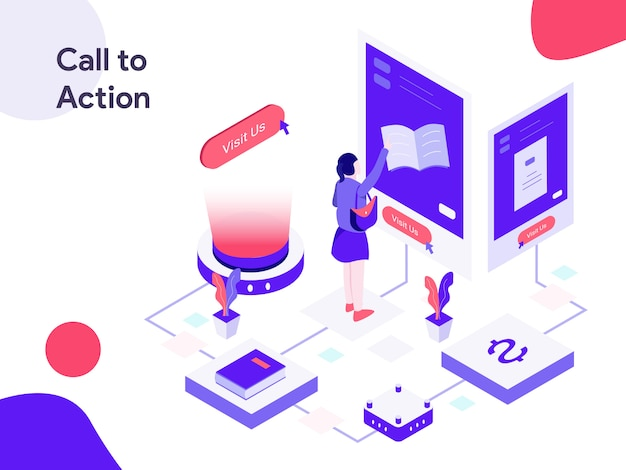 Call to action isometric illustration