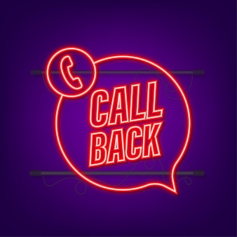 Call back. information technology. telephone neon icon. customer service. vector stock illustration.