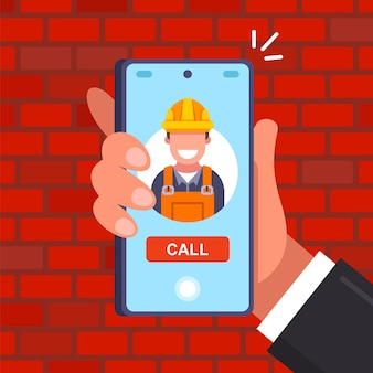 Call the builder in a helmet by phone. call the repairman to the house. flat vector illustration.