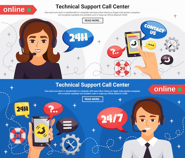 Call center 2 horizontal banners