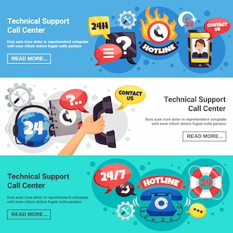Call center 3 horizontal banners