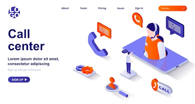 Call center 3d isometric landing page with people characters