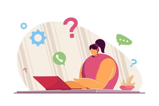 콜센터 관리자. 평면 벡터 일러스트 레이 션. 고객에게 기술 지원을 제공하는 여성 교환원은 노트북, 헤드폰으로 핫라인 전화에 응답합니다. 서비스, 도움말, 관리 개념