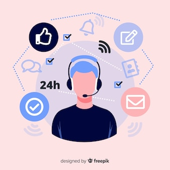 Call center agent concept in flat style