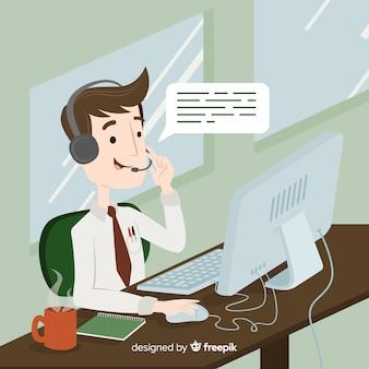 Концепция агента call-центра в плоском дизайне