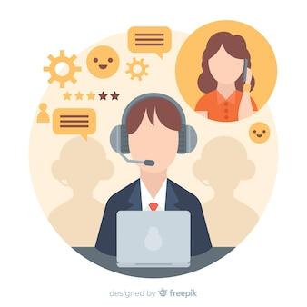 Концепция агента call-центра в плоском стиле