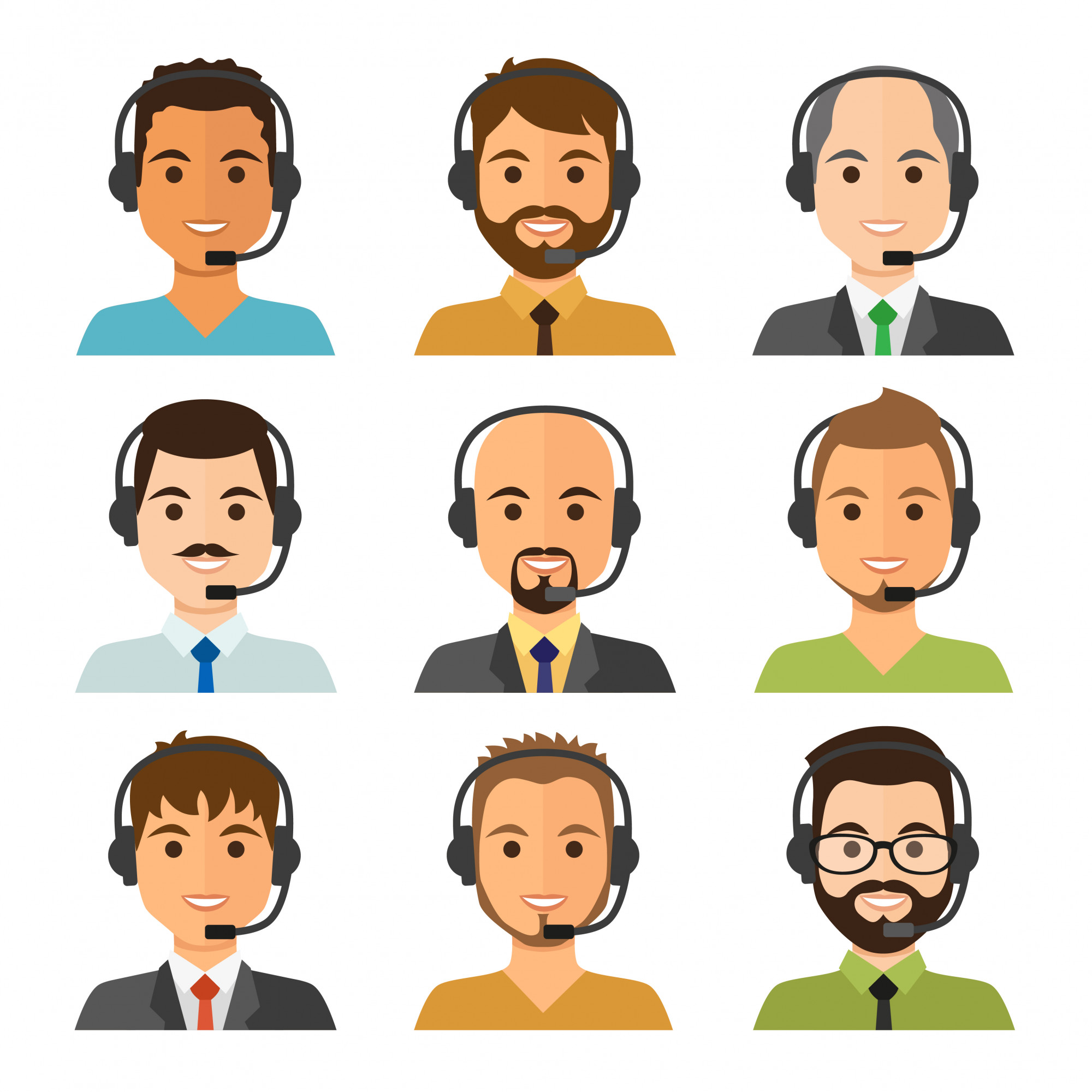 Call center agents avatars, business man collection