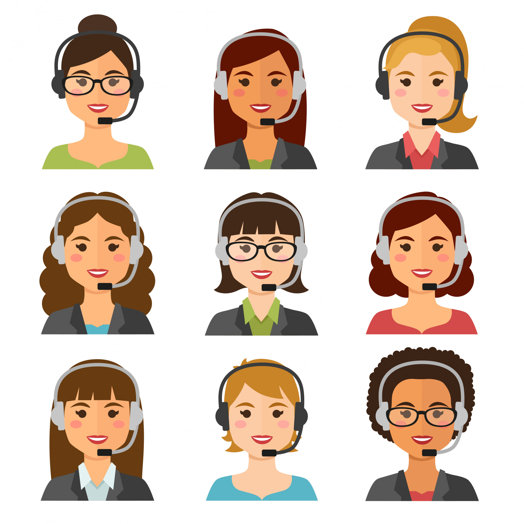 Call center agents avatars, business woman collection