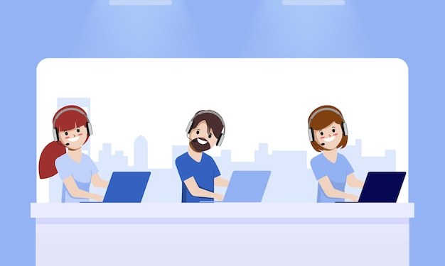 콜 센터 및 고객 서비스 작업 애니메이션 벡터 디자인