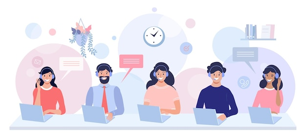 Колл-центр, служба поддержки и концептуальная иллюстрация идеально подходят для веб-дизайна