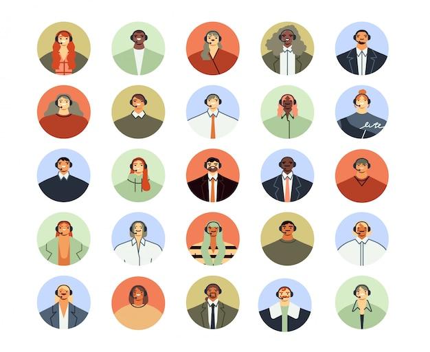 콜센터 보조 아바타. 클라이언트 지원 서비스, 개인 전화 도움 지원 및 고객 지원 작업자 프로필 아이콘 평면 그림을 설정합니다. 컨택 센터 서비스 운영자