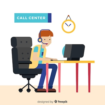 Call center assistant helping customers