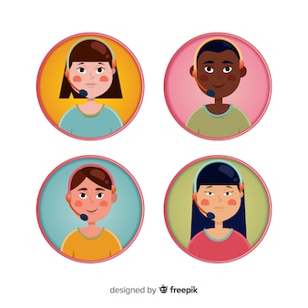 Call center avatar sample in flat style