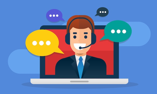 Call center avatar wearing headset  on screen laptop with buble message.