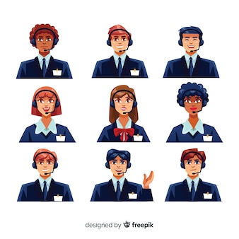 Call center avatars in flat design