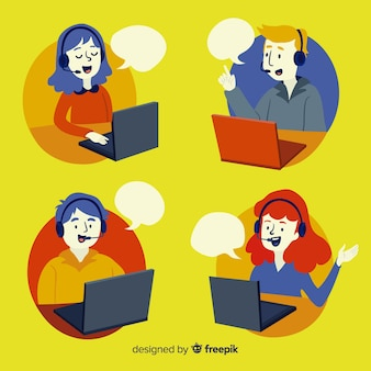 Call center avatars in flat design