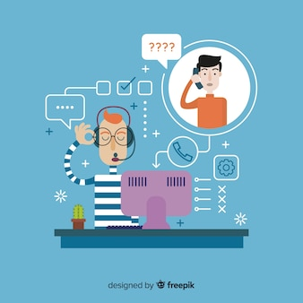 Call center background flat design
