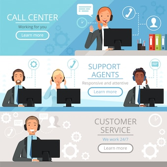 Call center banners. support agents characters customer service phone helping operators vector cartoon illustrations