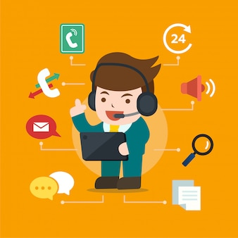 Call center character operator with headset, hotline support, feedback