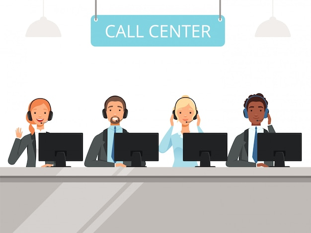Call center characters. business customer service agents operator in headset sitting front laptop computers  characters