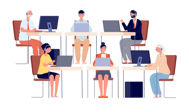 Call center characters. contact service, smiling telephone agent with headset. company office operator, customer hotline vector illustration. operator telephone, support and call service for customer