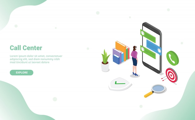 Call center chat with man standing customer support on the smartphone apps isometric