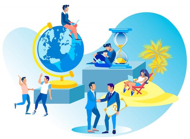 Call center collaboration vector illustration.