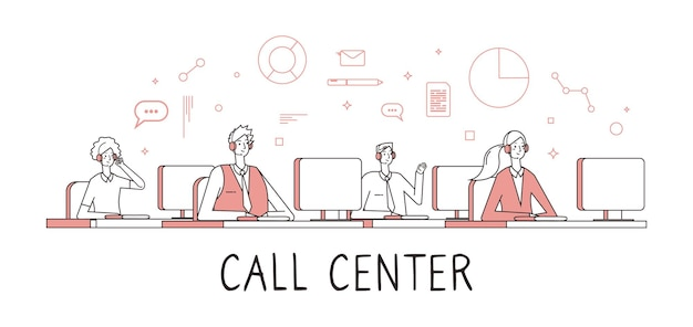 Концепция call-центра. служба поддержки клиентов службы поддержки. люди работают удаленно со звонками