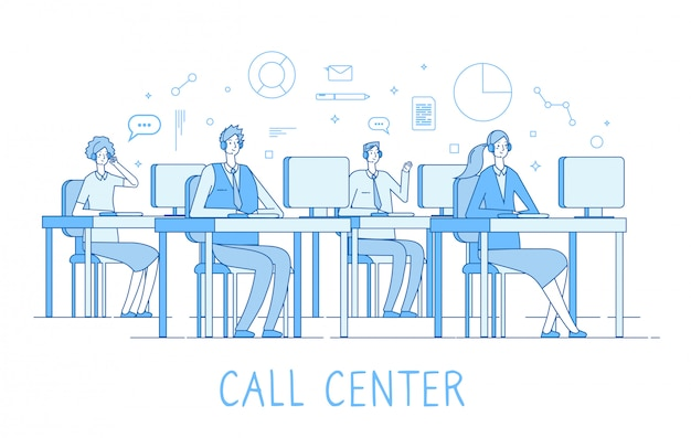Call center concept. customer support service helpdesk services call center computers operator supporting client  line concept