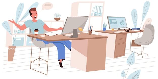 평면 디자인의 콜 센터 개념입니다. 헤드셋의 교환원은 클라이언트와 상담하고 사무실 사람들의 현장에서 컴퓨터 작업을 합니다. 기술 지원 컨설턴트가 고객의 전화에 응답합니다. 벡터 일러스트 레이 션