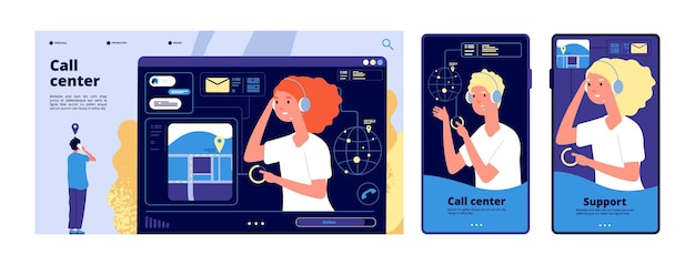 Call center concept. landing page, template for customer support service. online personal assistant, help desk vector illustration. service support, call center operator, communication assistant