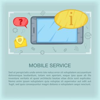 Call center concept mobile, cartoon style