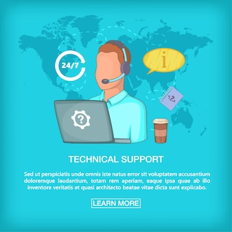 Call center concept tech support, cartoon style