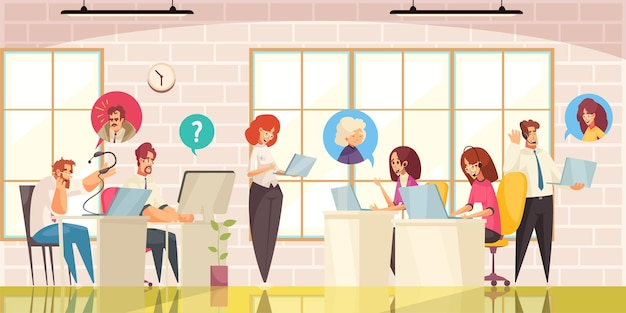 Call center and customer online support service office interior flat illustration