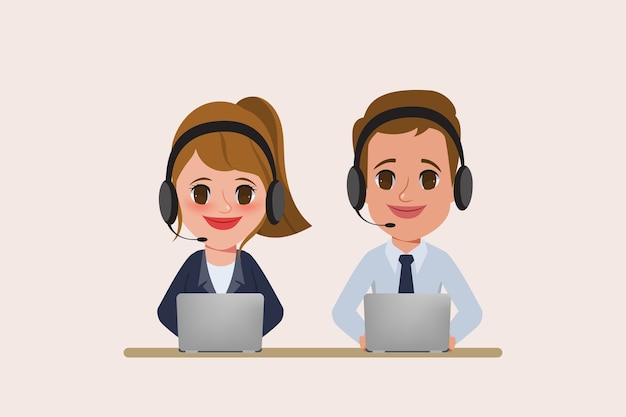 Call center and customer service character.