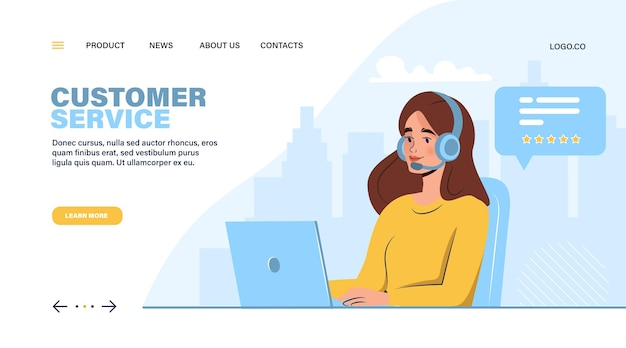 Call center or customer service landing page woman with laptop and headphones