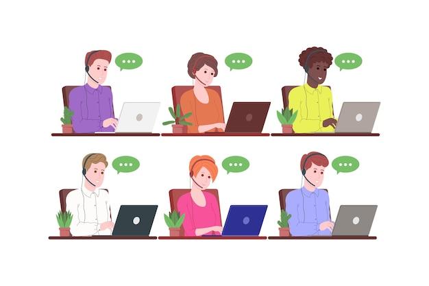 Колл-центр, служба поддержки, целевая страница поддержки и помощи. оператор горячей линии мужчина и женщина с гарнитурами и ноутбуком. концепция телемаркетинга и консультации. векторные иллюстрации шаржа.