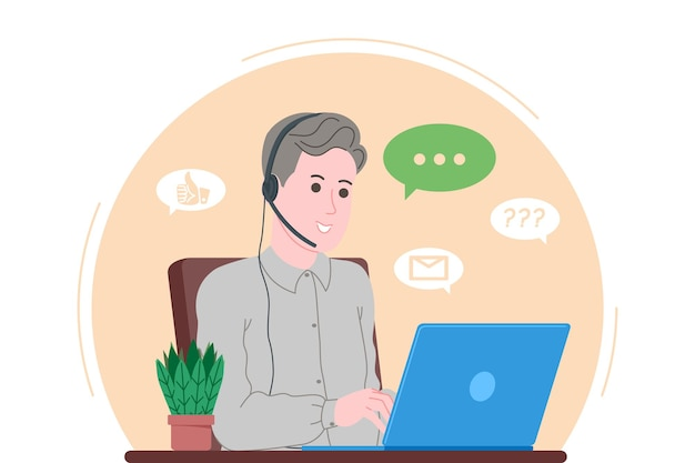 Call center, customer service, support and assistance landing page. hotline man operator with headsets and laptop. concept of telemarketing and consultation. cartoon vector illustration.